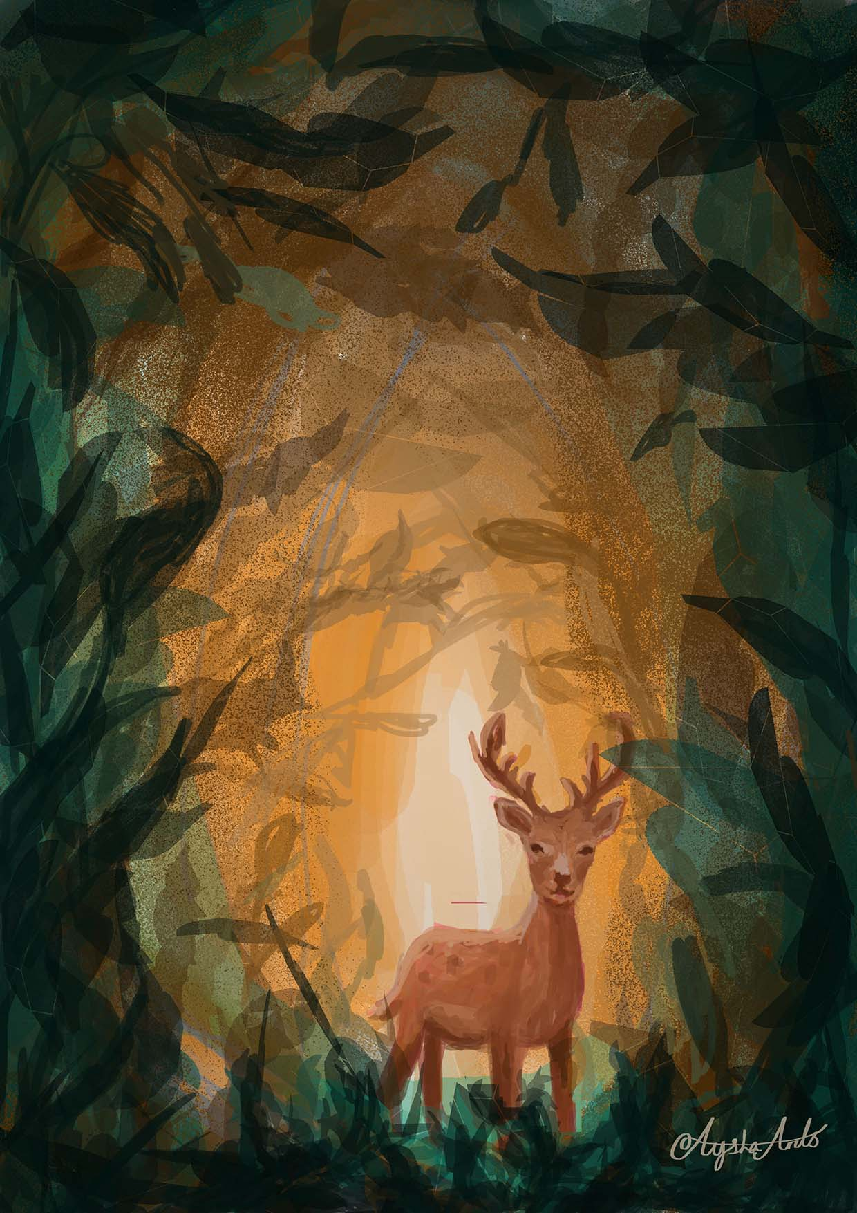 Deer in the forrest (low)